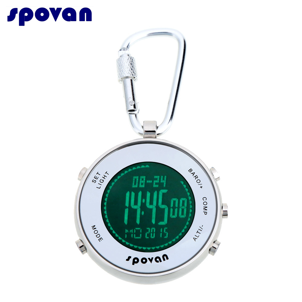 Montre de poche numérique multifonctionnelle Sport étanche Durable Spovan + mousqueton crochet et baromètre à corde élastique/thermomètre/Altimete