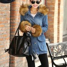 Осень Зима элегантный утолщение тепловой супер большой меховой воротник лиса Тонкий джинсовой куртки ватные женщины ковбой пальто верхняя одежда