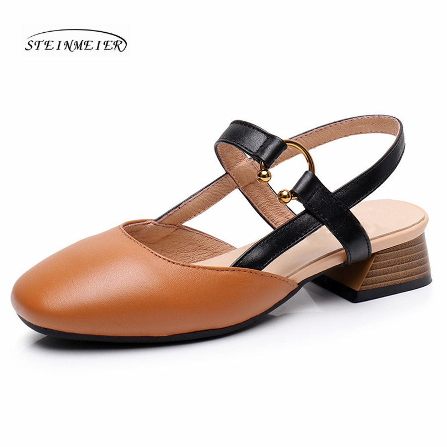Women genuine Leather spring summer flat Sandals shoes handmade beige oxford slippers vintage Square Toe British style shoes ladies shoes 2018 spring british style multicolor leather shoes square head slope thick soles shoes fashion fit flat shoes
