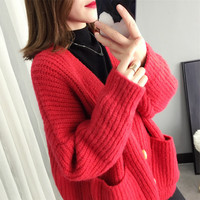 Womens Red Sweaters 2019 Spring Long Sleeve Casual V neck Cardigans Batwing Sleeve Solid Thick Red Green Khaki