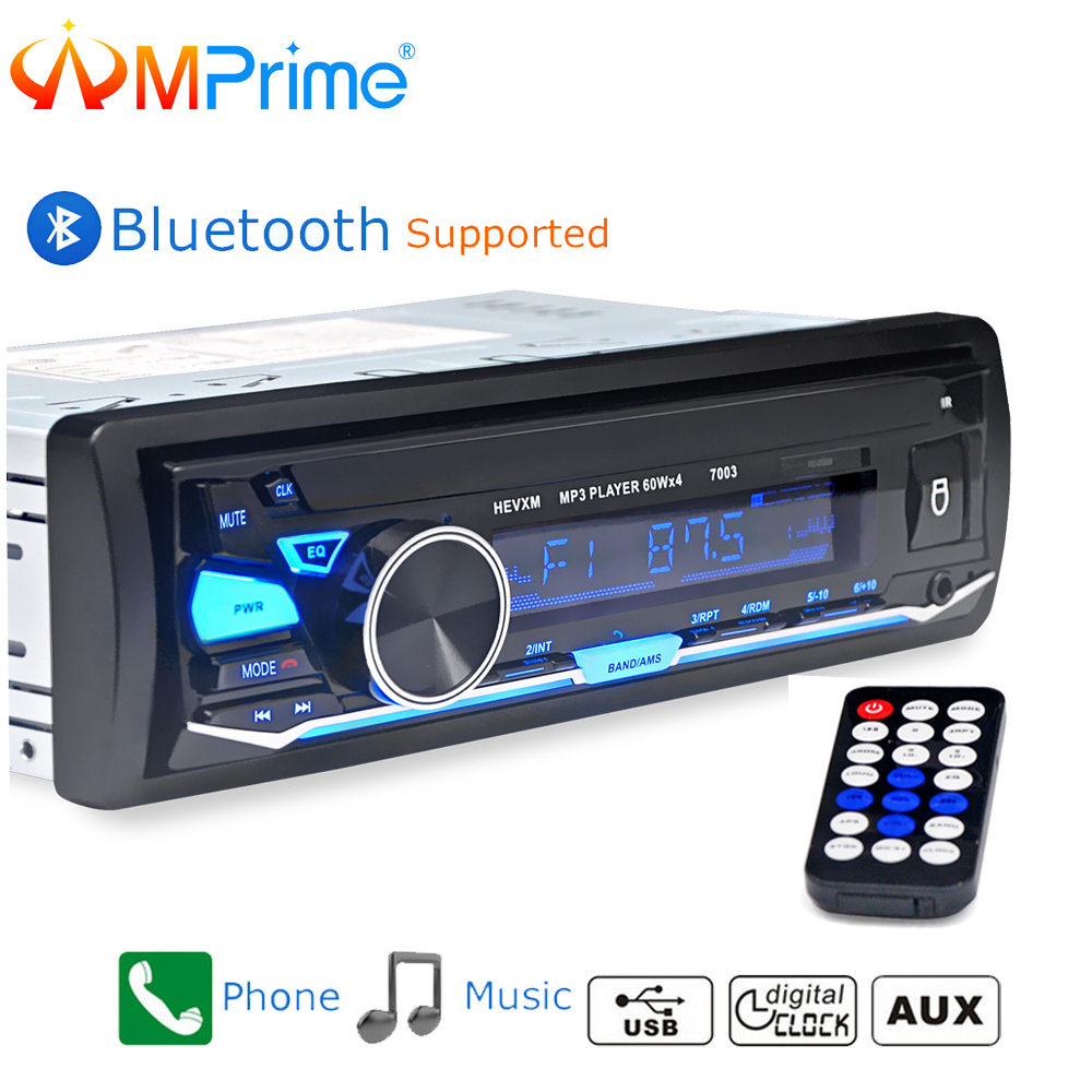 AMPrime Car Auto Radio 1 din 12V Bluetooth Stereo Audio MP3 Player FM Radio Receiver Support Aux Input SD USB MMC Remote Control 12v 1 din in dash bluetooth auto car radio stereo mp3 audio player fm aux input receiver support usb sd mmc remote control