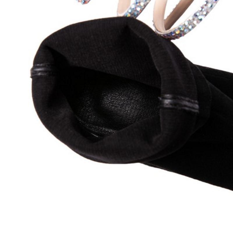 Noir Taoffen D'hiver Cuir mollet 39 Patchwork Femmes Haute Couleur Talons 34 Mode Chaussures Femme En Bottes gris Taille argent Véritable Mi Mixte wqHSqIAr