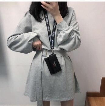 7 colors long sleeve dress women spring autumn korean style dress ladies solid color loose t shirt dress women with belt (X218) 5