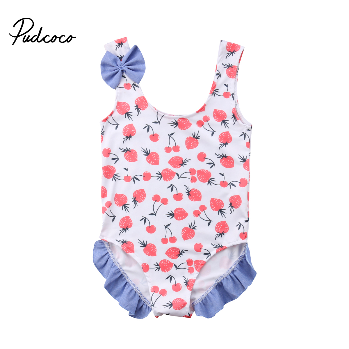 6d787c8381 2018 Brand New Newborn Toddler Baby Girl Casual Floral Summer Swimsuit  Swimwear Sleeveless Bow Cherry Ruffle Bathing Suit Bikini-in Rompers from  Mother ...