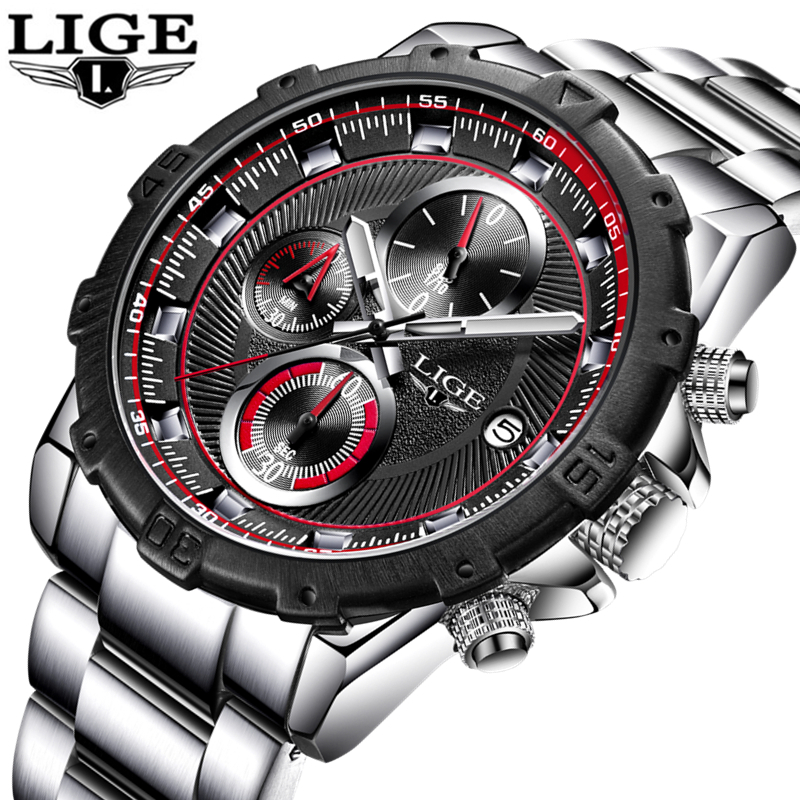 Lige watch men luxury brand waterproof military watches men 39 s full steel casual sport for Lige watches