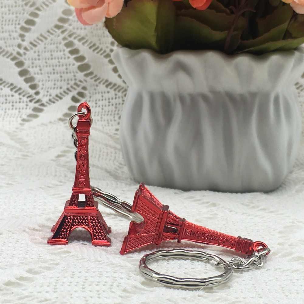 50ピースdiyの結婚式の好意パーティーギフトプロモーションギフトシニーフランスパリエッフェル塔キーホルダーパリツアーレトロクラシックキーリング