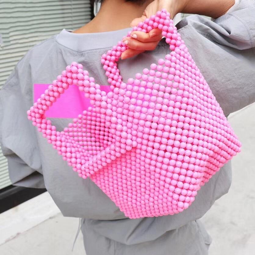 Moda coreana praia bolsa de mão rosa