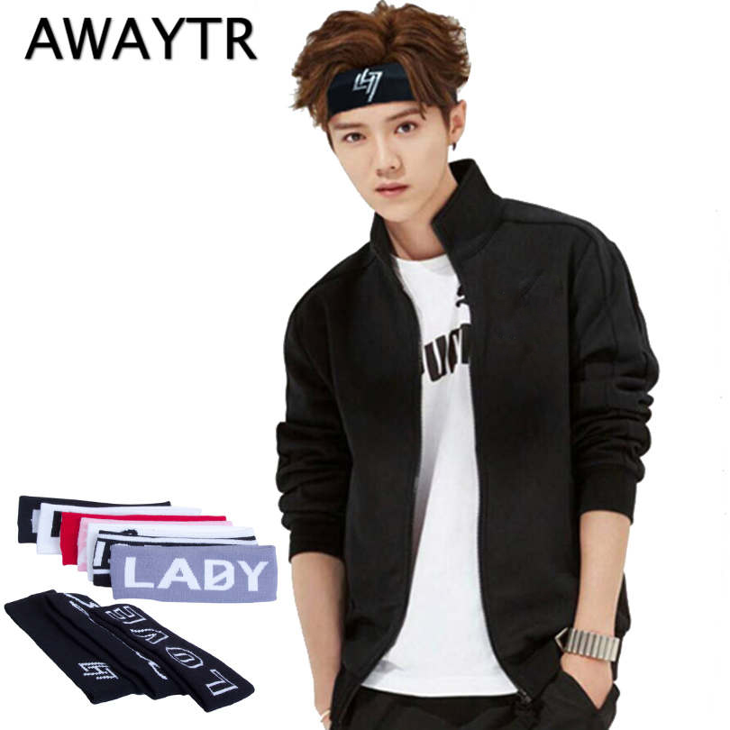 AWAYTR 1 PC Letter Headband For Women Men 2020 Autumn Winter Head Band Sport Headwear Elasticity Turban Knitting Hair Band