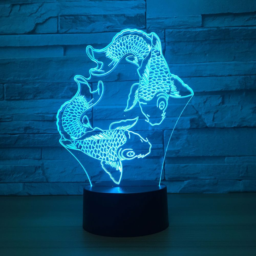 Good Luck Fish Shape 3D Night Light Novelty 7 Colors Changing LED Desk Table Lamp 3D Illusion Multicolor Lamps For Kids Gift
