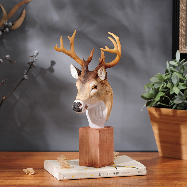 New Arrival!! Unique Product Elegant Deer Head Ornaments Elk Decoration Resin Home Accessories Simulated Animal Best Gift