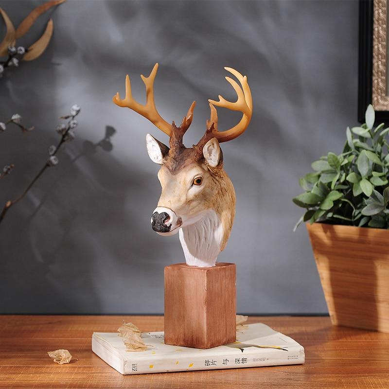 Ev ve Bahçe'ten Heykelcikler ve Minyatürler'de Yeni Gelen!! Benzersiz Ürün Zarif Geyik Kafası Süsler Elk Dekorasyon Reçine Ev Aksesuarları Simüle Hayvan En Iyi Hediye'da  Grup 1