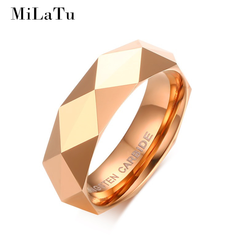 MiLaTu Men Women Tungsten Ring Rose Gold Color Wedding Bands Rhombus Cut Multi Faceted Dome