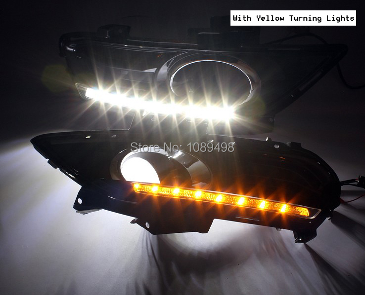 1 Set LED daytime running lights with turn lights for Ford Mondeo Fusion 2013 DRL new white ice blue led daytime running lights drl fog lamp cover with yellow turn light for ford fusion mondeo 2013 2014 2015 2016