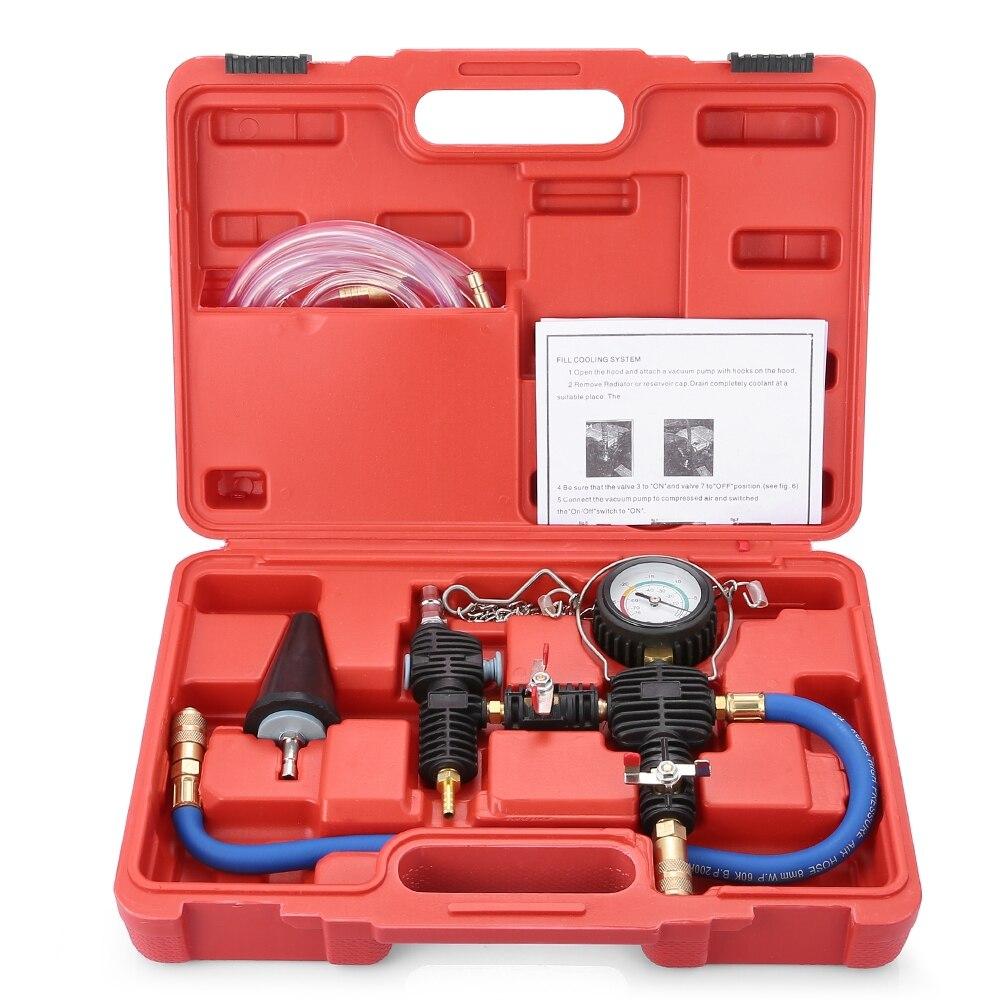 Auto Kühlmittel Vakuum Kit Kühlsystem Heizkörper Set Refill und Spülen Werkzeug Universal für automotive kühlsysteme leck test