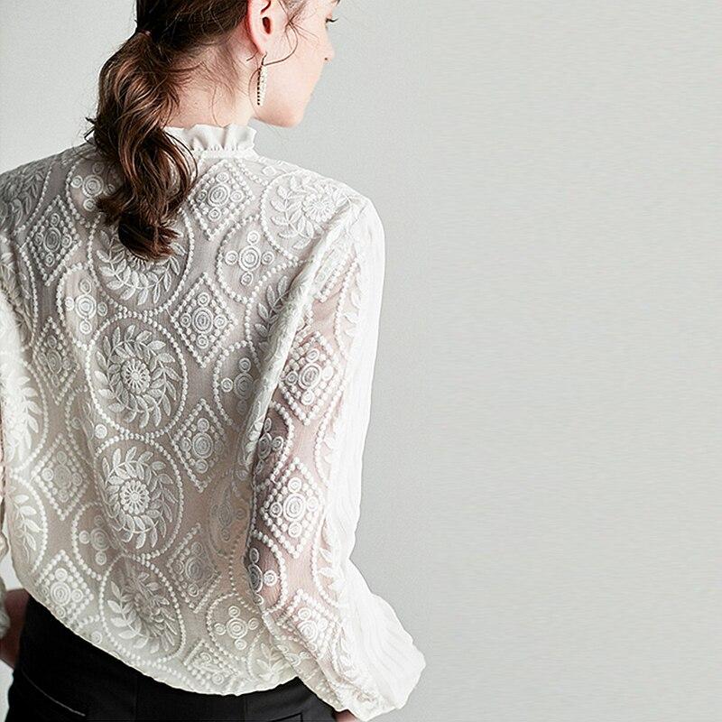 Blusa de seda 100% camisa de mujer bordado Vintage sólido diseño plisado volantes cuello redondo manga larga estilo elegante nueva moda 2019-in Blusas y camisas from Ropa de mujer    3