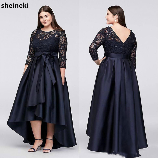 17edc679941 High Low Lace Mother Of The Bride Dress 3 4 sleeve Plus Size Formal Wear  Wedding Guest Evening Dress Party Gowns Custom Made