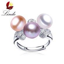 2b44f721d500 Lujo elegante 100% anillo de perlas de agua dulce Natural para las mujeres  moda 925 joyas de plata esterlina 3 perlas boda anill.