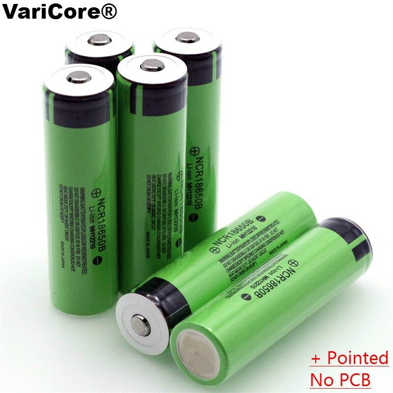 Новый оригинальный 18650 3,7 В 3400 мАч литиевых Перезаряжаемые Батарея NCR18650B с острым (No печатной платы) для фонарик батареи