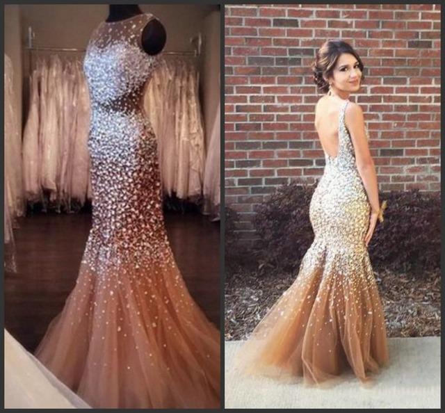 54355ae2bf Exquisite Mermaid Prom Dresses 2017 Champagne Rhinestone Luxury Heavy  Beaded Sexy Backless With Beads Sequins Formal Dresses