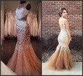 Exquisite Sereia Vestidos de Baile 2017 Champagne Rhinestone Luxo Pesado Frisada Sexy Backless Com Miçangas Lantejoulas Vestidos Formais