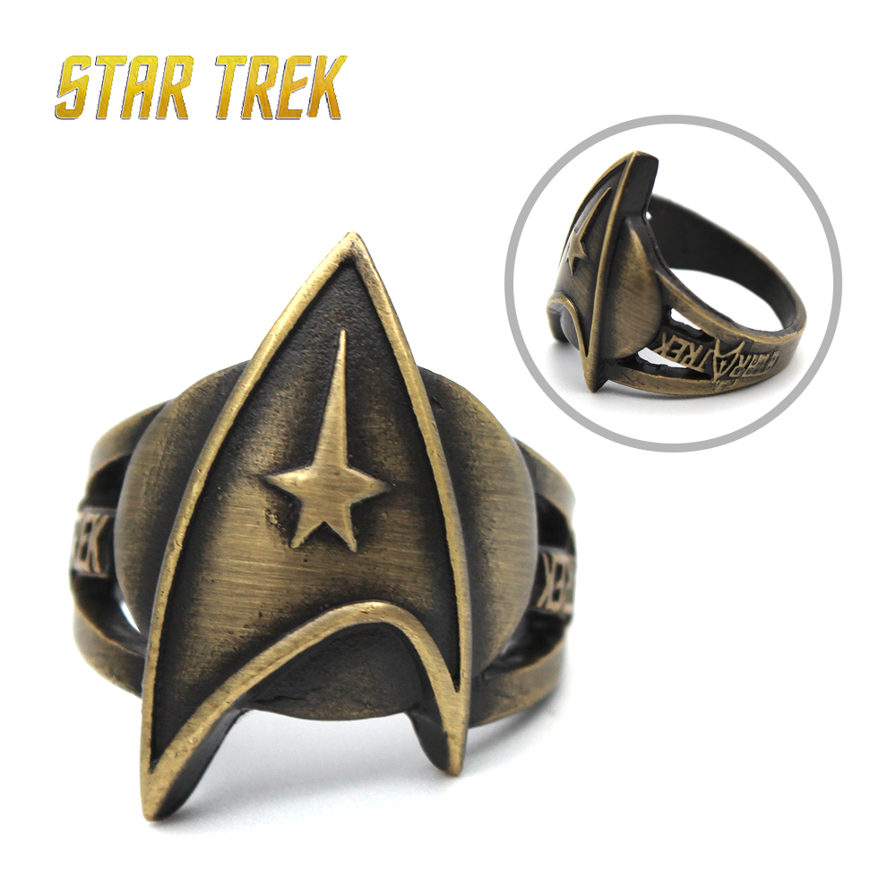 Giancomics Star Trek Captain Kirk Communicator Metal Bronze Metal Ring Finger Pentagon Ring Ornament Souvenir Costume Pendants