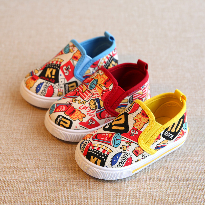 Baby Canvas Shoes Spring New Brand Print Children s Casual Shoes Boys Girls Flat Breathable Shoes