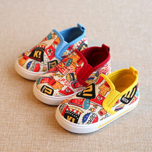 Baby Canvas Shoes Spring New Brand Print Children's Casual Shoes Boys Girls Flat Breathable Shoes For 1- 3 Old Years
