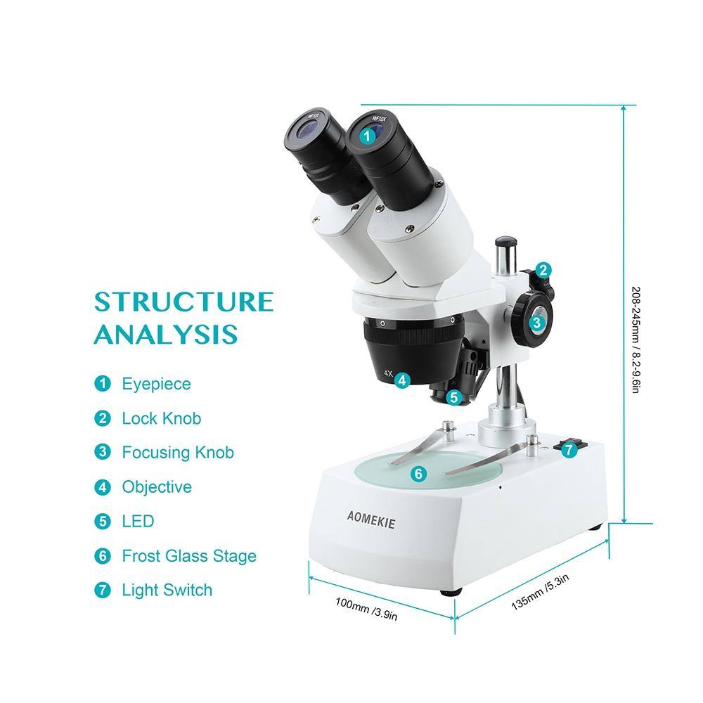 AOMEKIE 20X / 40X Microscopio stereo industriale Binoculare In alto a - Strumenti di misura - Fotografia 6