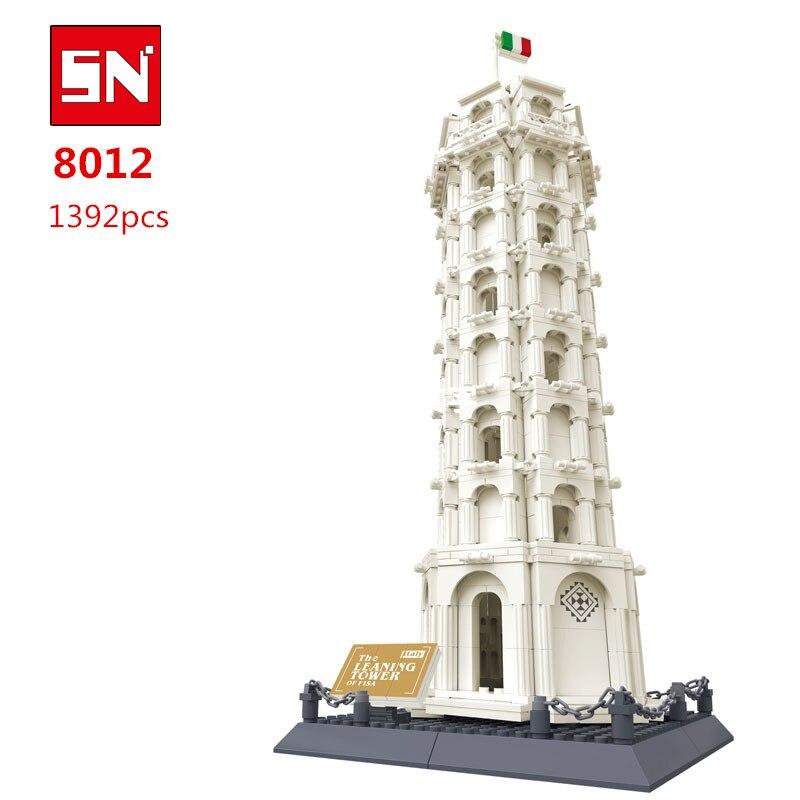 Livraison Gratuite 8012 1392 Pcs grandes briques blocs blocs ensembles enfants jouets éducatifs TOUR PENCHÉE DE PISE