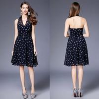 B0065 New Halter Chiffon polka dots Increspato Abito di Sfera di Promenade Delle Donne Formale Cocktail Party Girl Dresses A-Line