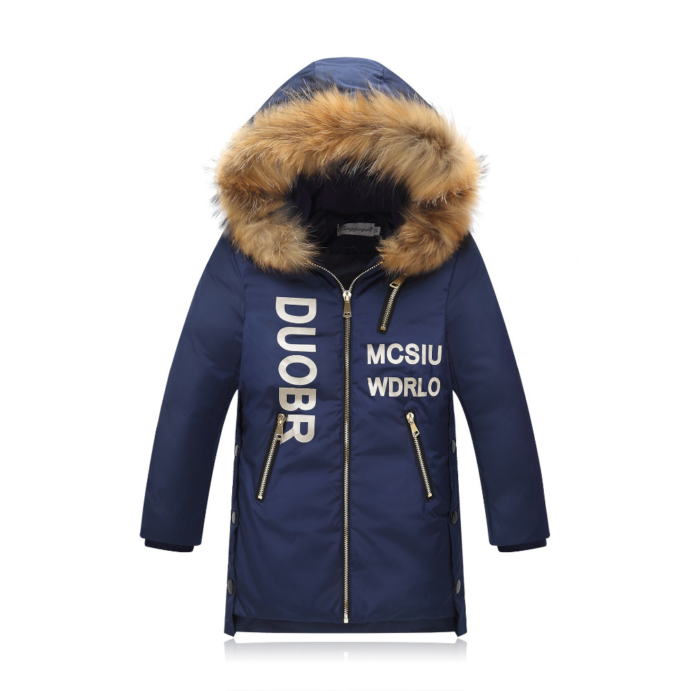2017 design long thick jackets fur hooded duck down fluff kids school big boy girl coat overcoat for -30 degree Russia winter children duck down jacket coat with imitation fur boy girl removable hooded overcoat winter warm thick outerwear kid clothes