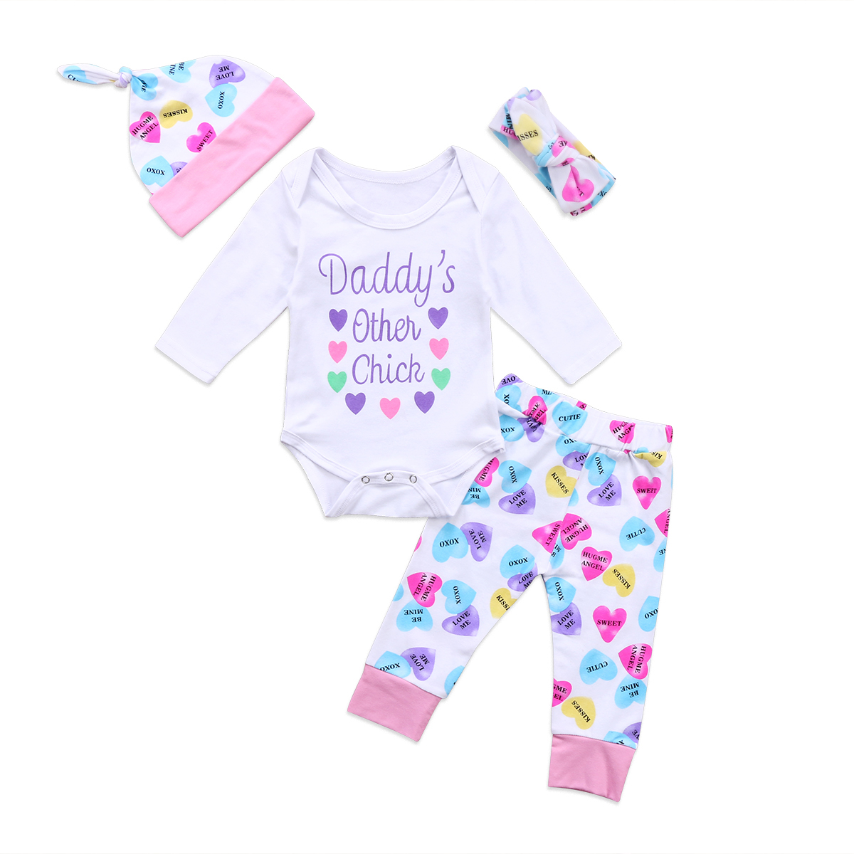 Newborn  Infant  Baby Girls Daddys other chick Romper Playsuit+Long Hear Print Pants Jumpsuit Head band Clothes Outfit 4pcs us stock floral newborn baby girls lace romper pants headband outfit set clothes infant toddler girl brief clothing set playsuit