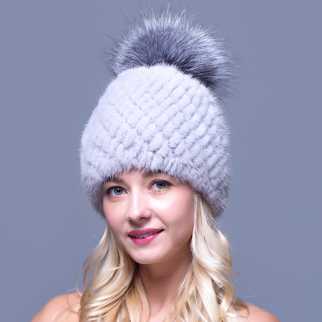 Mink Fur Beanies Hat For Women With Fox Fur Pompons High Quality Thicken Female Knitted Cap Real Mink Fur Hat for the Winter
