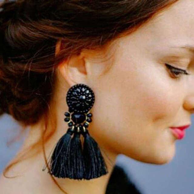 4 Design Bohemia Long Tassels Drop Earrings
