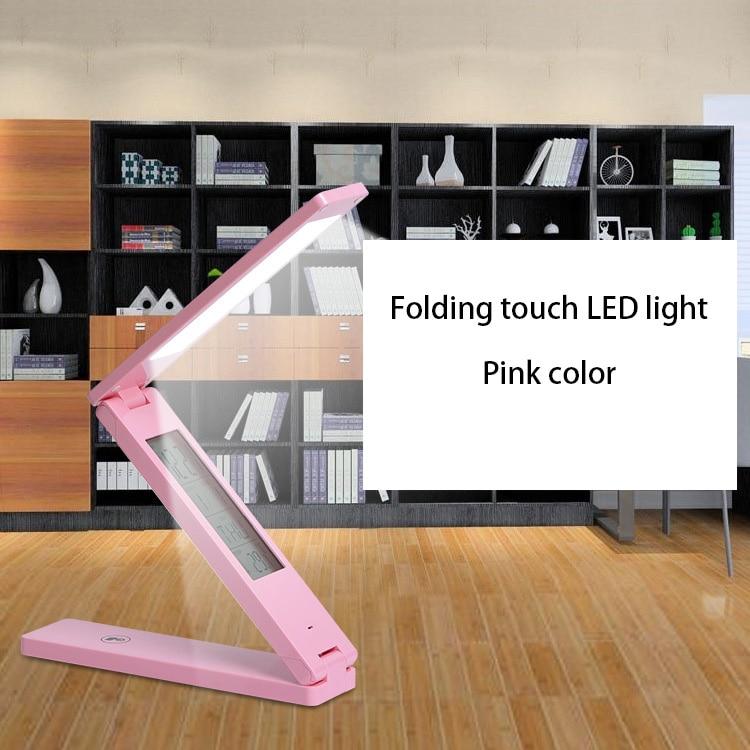 Touch Sensitive Control Brightness Calendar Clock Book Lights LED Folding Table Lamp Battery Power Super Brightness Desk Lamp