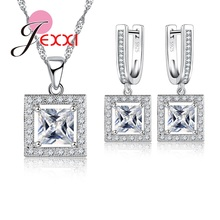 JEXXI Trendy Geometric Square Shape Brand Cubic Zirconia Rhinestone Sterling Silver Jewellery Sets For Woman Party