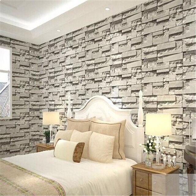 US $26.9  Stereo PVC wohnzimmer schlafzimmer TV wand hintergrund tapete  grau nachahmung nachahmung ziegel retro mauer papier in Stereo PVC  wohnzimmer ...