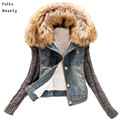 2017 New women's Autumn Denim Jacket Women winter Coat slim yarn large fur collar lamb cotton denim outerwear jeans 4XL