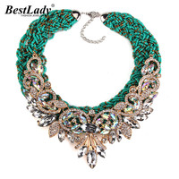 2016 New Exaggerated Vintage Bohemia Bib Beads Green Rope Luxury Crystal Flower Maxi Rhinestone Bijoux Statement
