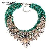 2016 New Exaggerated Vintage Bohemia Bib Beads Green Rope Luxury Crystal Flower Maxi Rhinestone Bijoux Statement