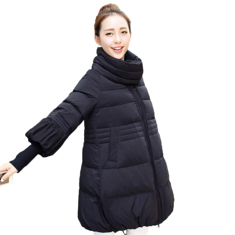 Winter Wadded Jacket Women New Fashion Stand Collar Warm Cotton Coat Loose Long Padded Jacket Three Quarter Sleeve PW0758 scuwlinen 2017 winter coat women vintage slanting lapel handmade plate button loose wadded jacket long casual cotton padded w13