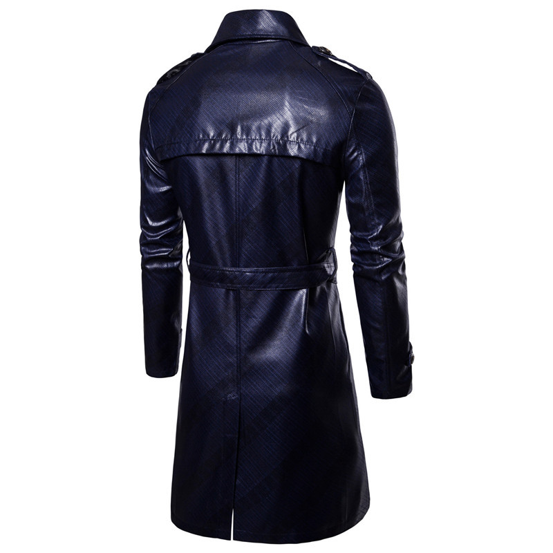 Men Trench Coat Homme  Mens New Fashion Long PU leather Trench Coat Autumn Long Jacket For Men Slim Fit Winter Warm Coat Mens 6
