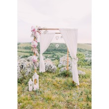 Laeacco Spring Flowers Wedding Ceremony Grassland Baby Portrait Natural Scene Photo Background Photography Backdrop Studio