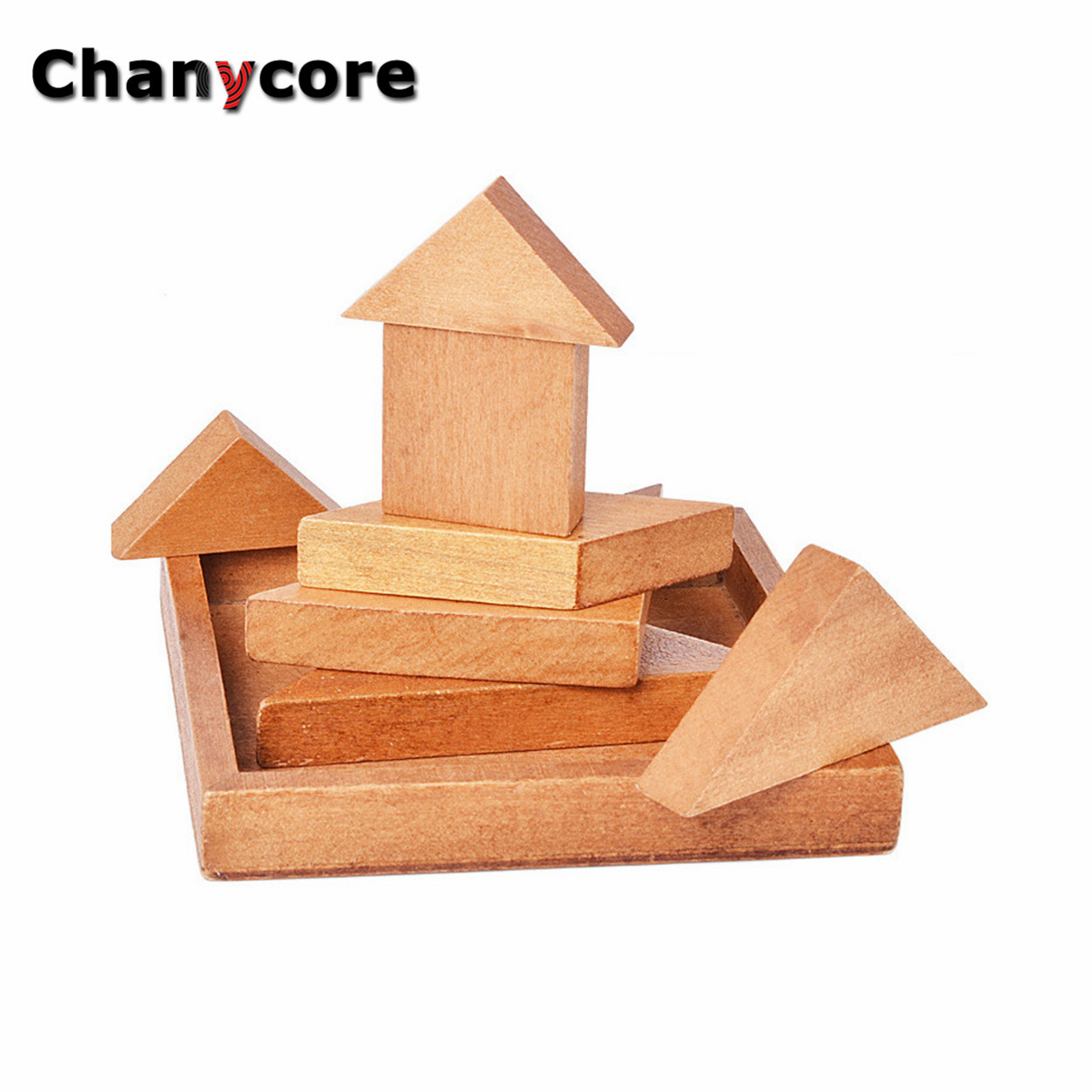baby learning educational wooden toys puzzle jigsaw tangram shape frame 9cm matching enlightenment kids gifts 4085