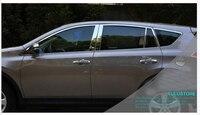 Дверь окна хром литой Подоконник Накладка стойки Post для Toyota RAV4 2013 2014
