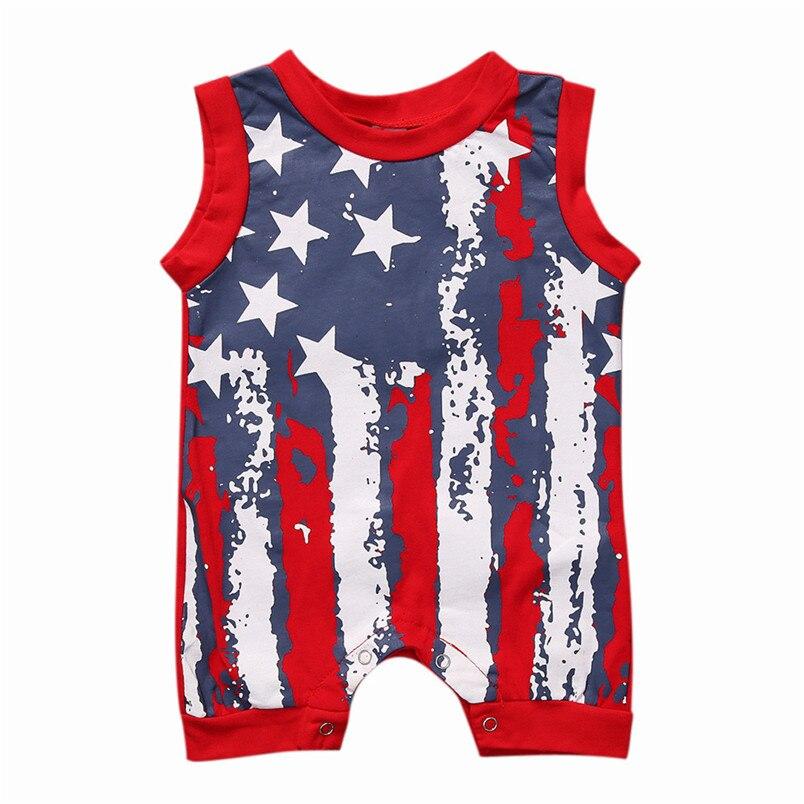 Летние Детские комплекты для мальчиков и девочек для новорожденных Для маленьких мальчиков девочек 4th июля звезды и полосы комбинезон одеж...