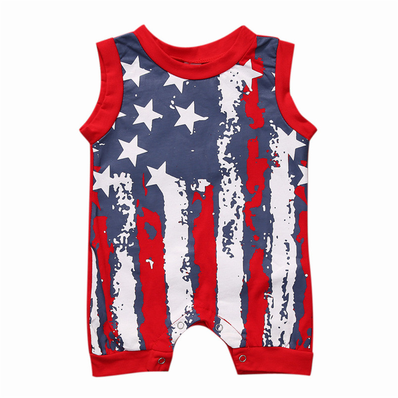 Summer Baby Girls Boys Sets Newborn Infant Baby Boy Girl 4th Of July Stars and Stripes Romper Clothes Outfit Dropshipping, XM30 2017 newborn baby boy girl clothes floral infant bebes romper bodysuit and bloomers bottom 2pcs outfit bebek giyim clothing