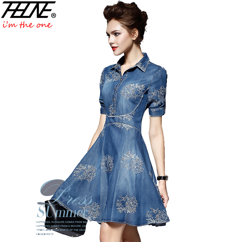 buy 2016 denim dress women plus size tunic slim embroidery summer style short. Black Bedroom Furniture Sets. Home Design Ideas