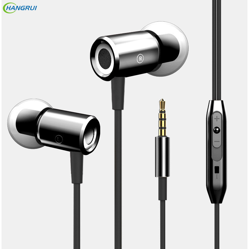 HANGRUI Professional 3.5mm in ear Earphones Magnet Metal Bass Headset with Microphone Earbud For xiaomi for iPhone fone de ouvid hangrui ms16 earphone stereo bass headset sports in ear earphones earbud with microphone for iphone for xiaomi for mobile phone