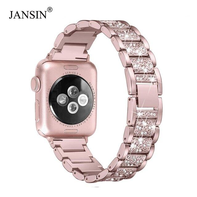 Для Apple Watch band 40 мм 44 мм 38 мм 42 мм женские алмазный обруч для Apple Watch series 4 3 2 1 браслет для iwatch из нержавеющей стали ремешок